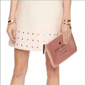 Kate Spade Rose Gold Pink Gia Holiday Drive Clutch